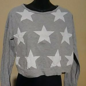 """Converse Gray and white star crop """"T"""""""